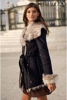 Lipsy Luxury Bonded Faux Fur Wrap Coat