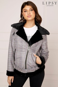 Lipsy Check Faux Shearling Biker Jacket