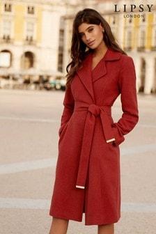 Rdzawy, kopertowy płaszcz Lipsy