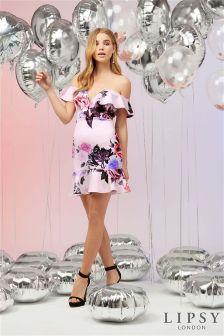 Lipsy Floral Bardot Ruffle Dress