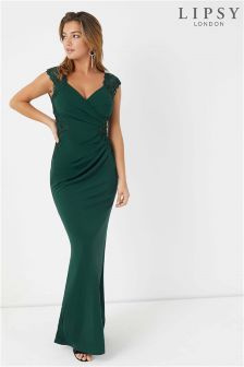 Lipsy Appliqué Ruched Maxi Dress