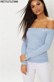 PrettyLittleThing Basic Bardot Ribbed Top
