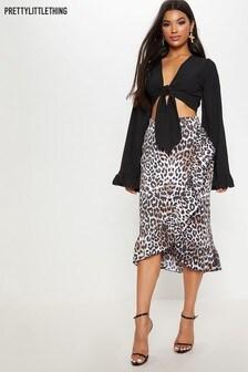 PrettyLittleThing Leopard Print Wrap Ruffle  Skirt