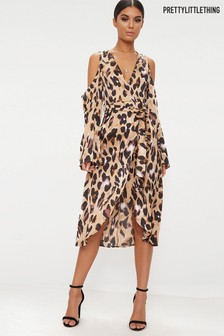 PrettyLittleThing Leopard Satin Midi Dress