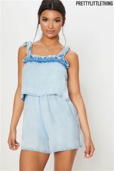 PrettyLittleThing Denim Look Layered Playsuit