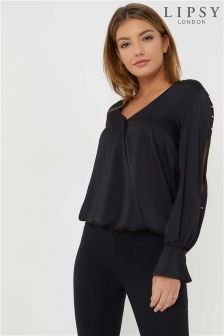 Lipsy Sleeve Detail Wrap Blouse