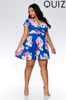 Quiz Curve Floral Print Wrap Skater Dress