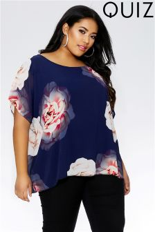 Quiz Curve Flower Print Batwing Top