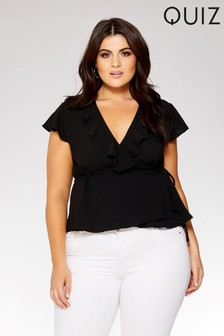 Quiz Curve Wrap Over Tie Side Frill Top