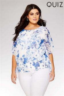 Quiz Curve Floral Waterfall Sleeve Top