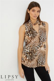 Lipsy Leopard Twist Choker Top