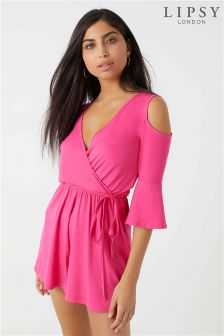 Lipsy Long Sleeve Cold Shoulder Wrap Playsuit