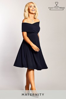 6e441c89d22 Want That Trend Maternity Bardot Twist Front Dress