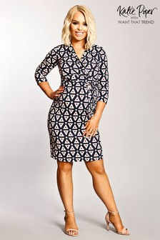 Want That Trend Maternity Geometric Tile Detail Wrap Dress