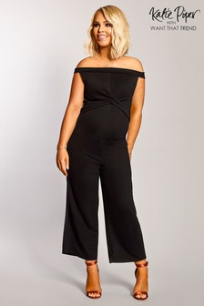 fb0ae5802aa Want That Trend Maternity Bardot Culotte Jumpsuit