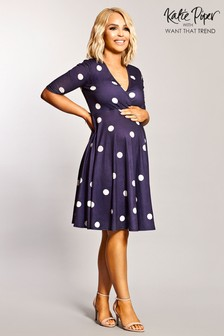 5b9e1df22c6 Want That Trend Maternity Polka Dot Wrap Skater Dress