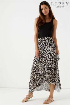 Lipsy Leopard Ruffle Wrap Maxi Skirt