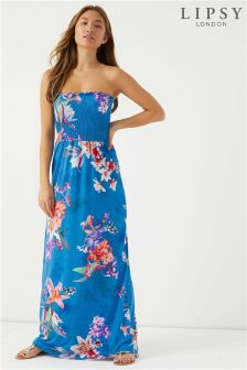 Lipsy Print Shirring Bandeau Maxi Dress