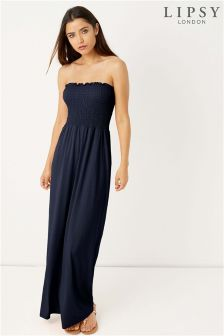 Lipsy Shirring Bandeau Maxi Dress