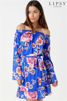 Lipsy Printed Flute Sleeve Bardot Dress