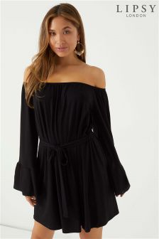 Lipsy Flute Sleeve Bardot Dress