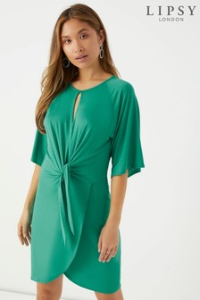 Lipsy Short Sleeve Knot Front Dress
