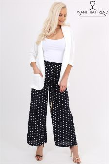 Want That Trend Polka Dot Wide Leg Trousers