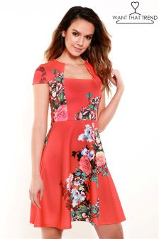 Want That Trend Sunset Floral Skater Dress