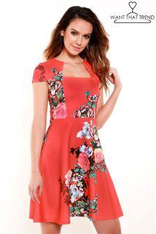 Короткое приталенное платье с цветочным принтом Want That Trend Sunset
