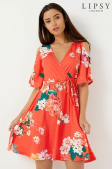 Lipsy Printed Cold Shoulder Wrap Dress