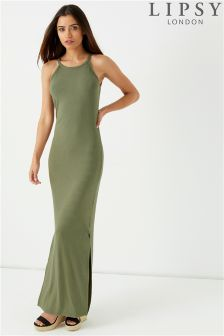 Lipsy Ribbed Split Hem Maxi Dress