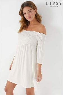 Lipsy Long Sleeve Shirring Bardot Dress