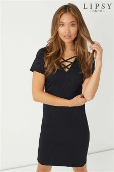Lipsy Lattice Front Frill Sleeve Midi Dress
