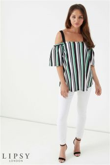 Lipsy Printed Cold Shoulder Short Sleeve Top