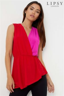 Lipsy Colour Block Asymetric Hem Top