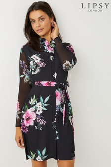 Lipsy Long Sleeve Printed Shirt Dress