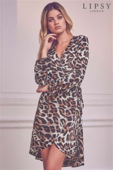 Lipsy Leopard Print Wrap Dress