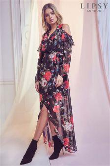 Lipsy Floral Print Ruffle Maxi Dress