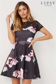 Lipsy Lace Insert Sweetheart Floral Skater Dress