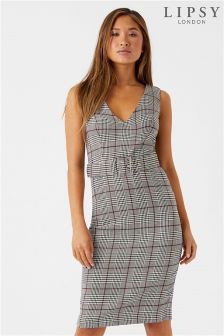 Lipsy Check Belted Bodycon Dress