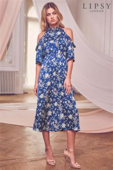 Lipsy Ditsy Floral Cold Shoulder Midi Dress