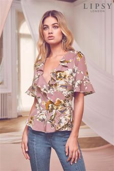Lipsy Floral Ruffle Wrap Top