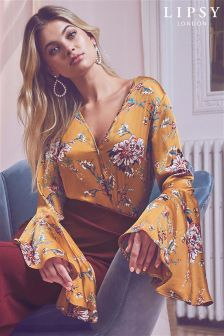 Lipsy Floral Wrap Flute Sleeve Body