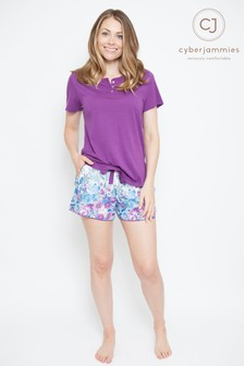 Cyberjammies T-Shirt And Printed Shorts Pyjama Set