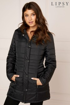Lipsy Essential Longline Hidden Hood Padded Coat