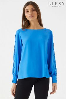 Lipsy Rouleau Button Long Sleeve Top