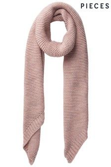 Pieces Ribbed Knitted Scarf