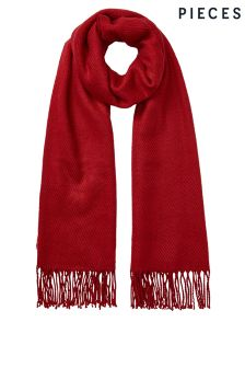 Pieces Textured Scarf With Tassels
