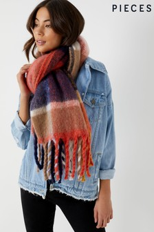 Pieces Oversize Check Scarf
