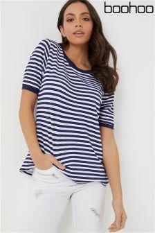 Boohoo Basic Short Sleeve Stripe T-Shirt